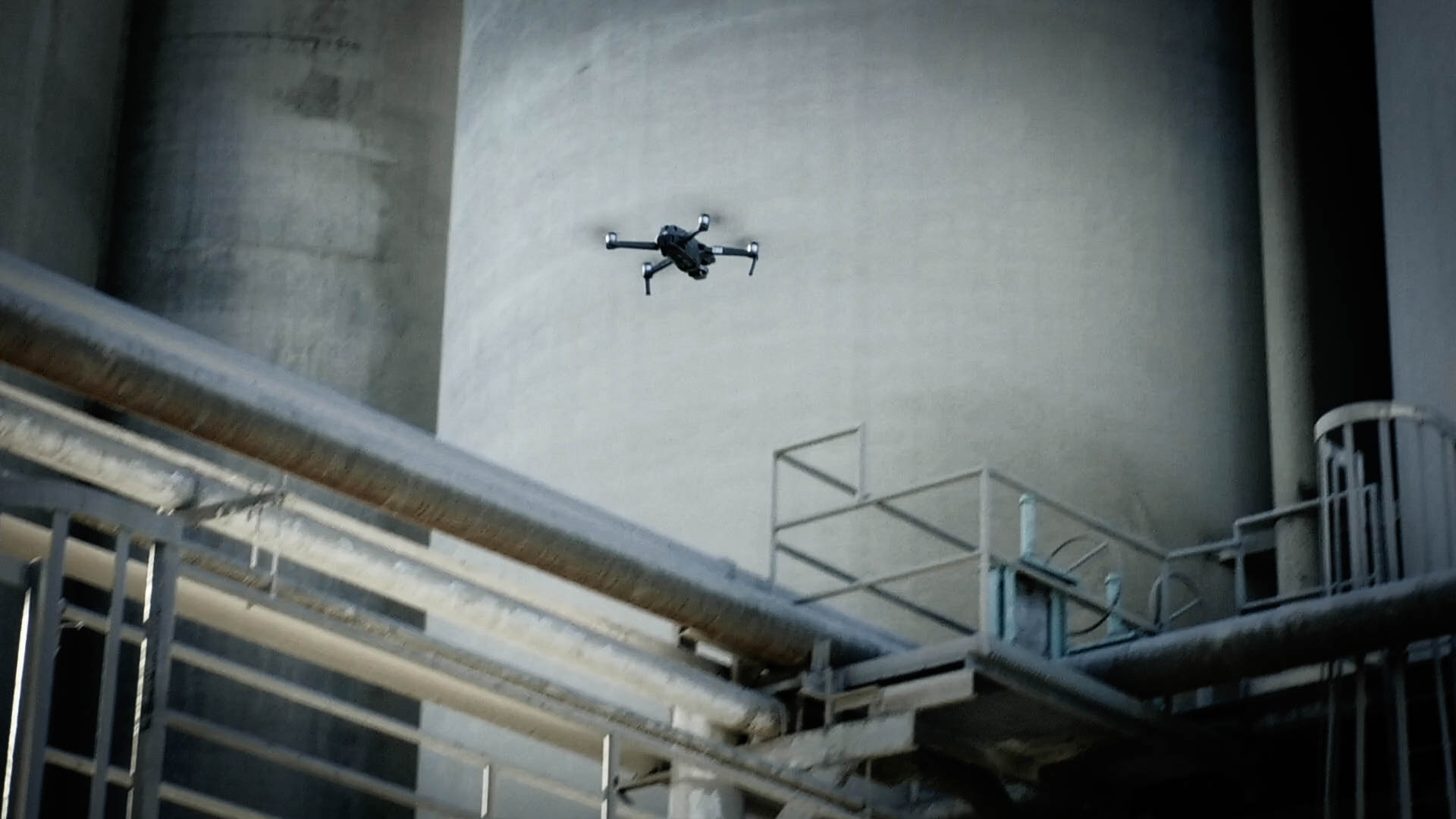 Drone flying doing AI supplemental silo inspection