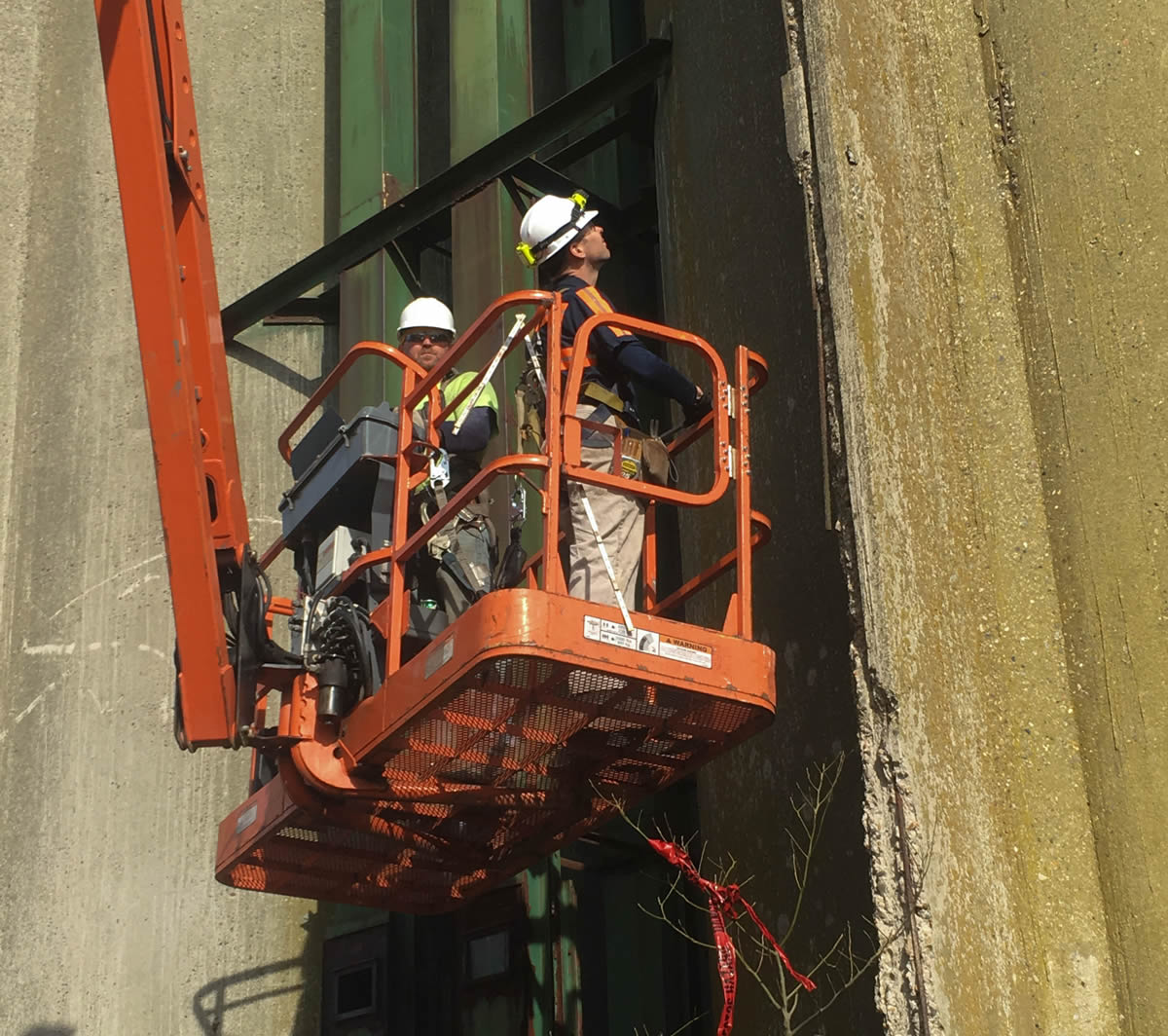 Man performing silo inspection