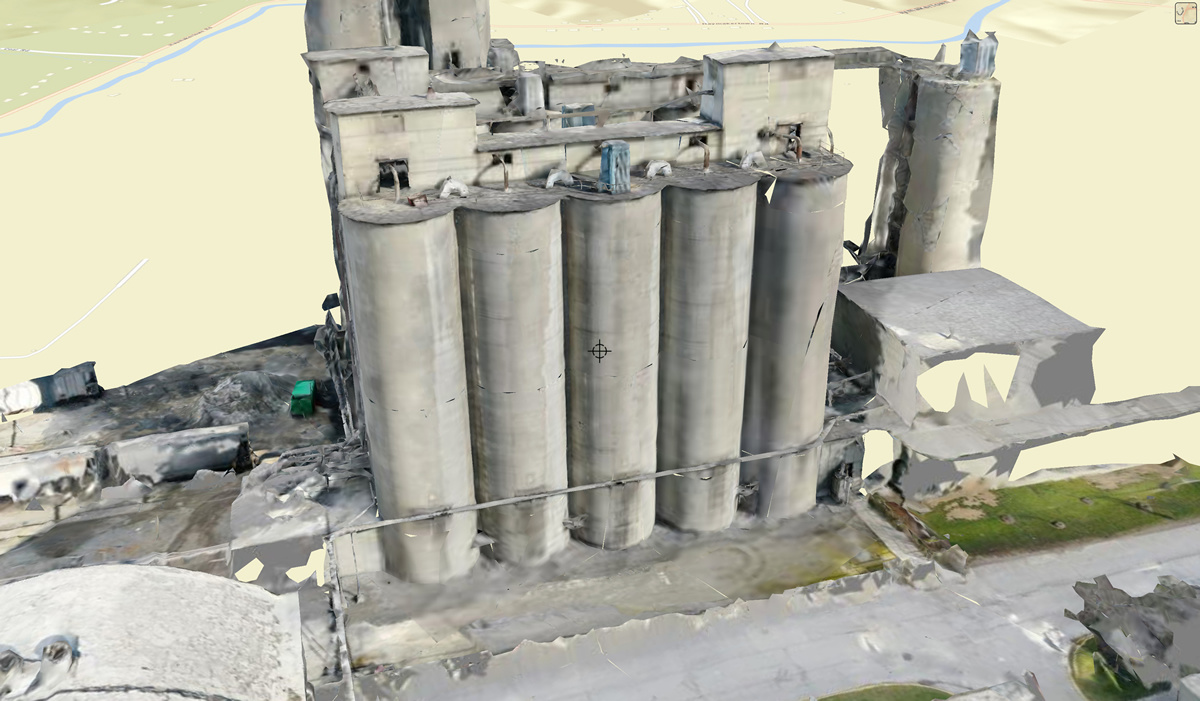 3D rendering of AI supplemental silo inspection