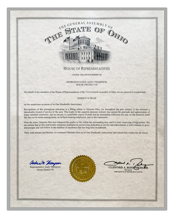 Ohio House of Representative Certificate